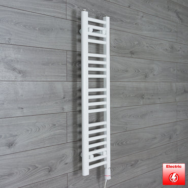 250mm Wide 1000mm High Flat WHITE Pre-Filled Electric Heated Towel Rail Radiator HTR,GT Thermostatic