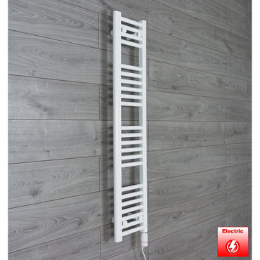 200mm Wide 1200mm High Flat WHITE Pre-Filled Electric Heated Towel Rail Radiator HTR,GT Thermostatic