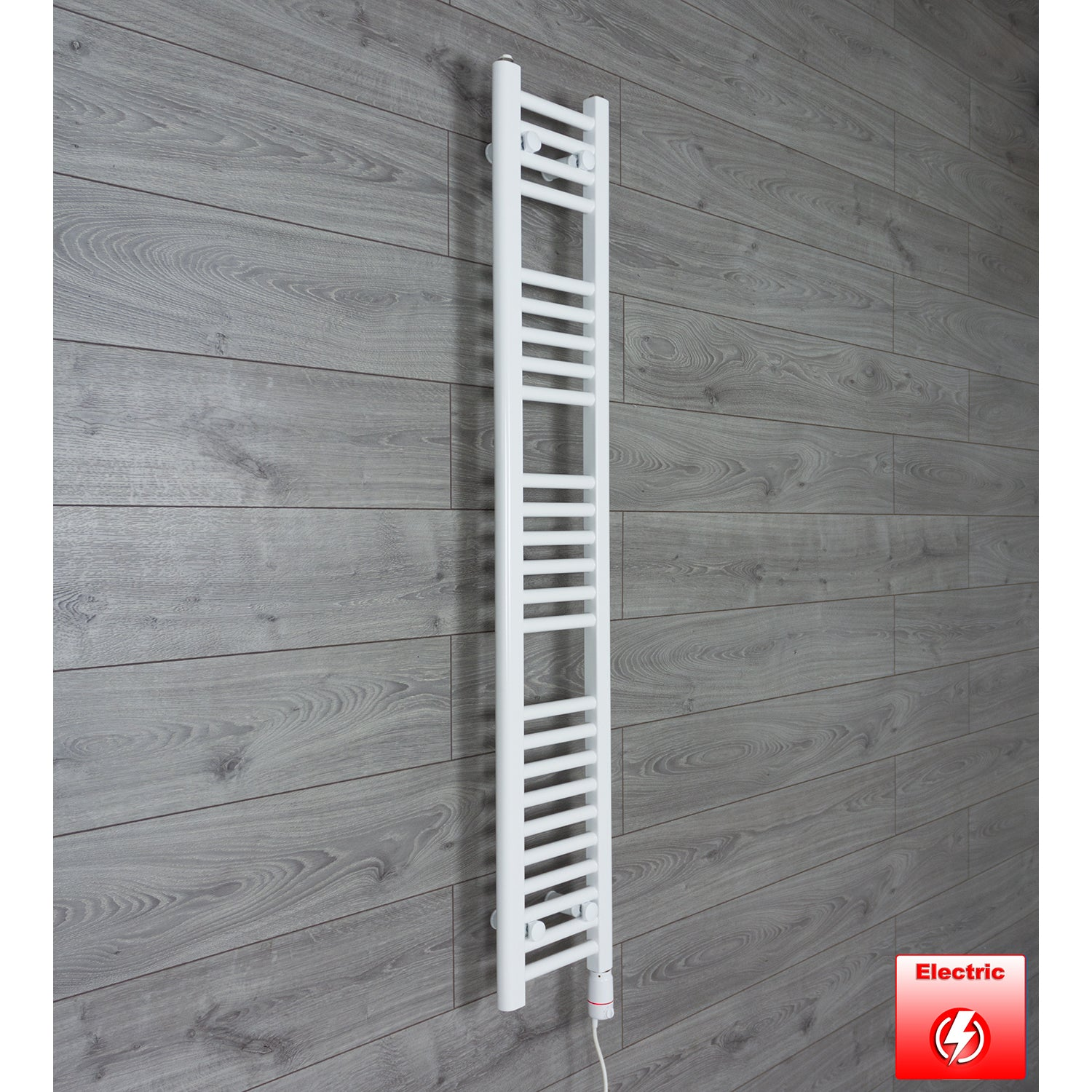 250mm Wide 1400mm High Flat WHITE Pre-Filled Electric Heated Towel Rail Radiator HTR,GT Thermostatic