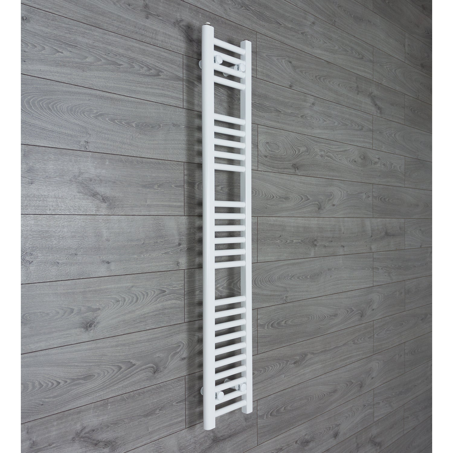 250mm Wide 1400mm High Flat WHITE Pre-Filled Electric Heated Towel Rail Radiator HTR