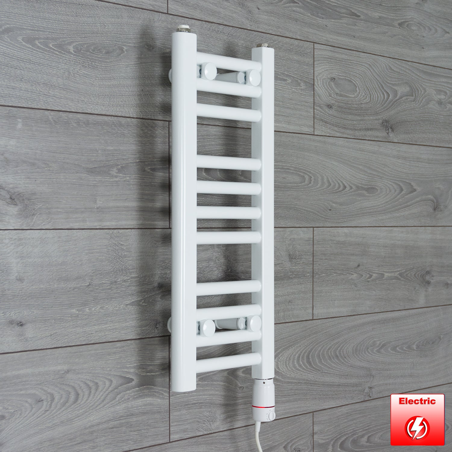 250mm Wide 600mm High Flat WHITE Pre-Filled Electric Heated Towel Rail Radiator HTR,GT Thermostatic
