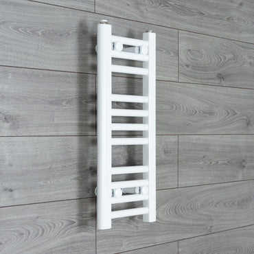 250mm Wide 600mm High Flat WHITE Pre-Filled Electric Heated Towel Rail Radiator HTR