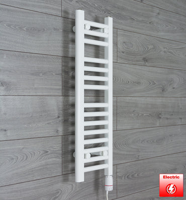 250mm Wide 800mm High Flat WHITE Pre-Filled Electric Heated Towel Rail Radiator HTR,GT Thermostatic