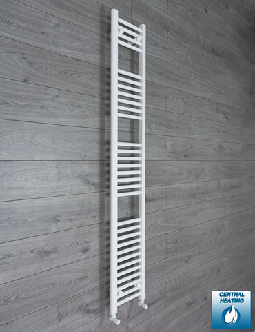250mm Wide 1800mm High Flat White Heated Towel Rail Radiator HTR,With Angled Valve