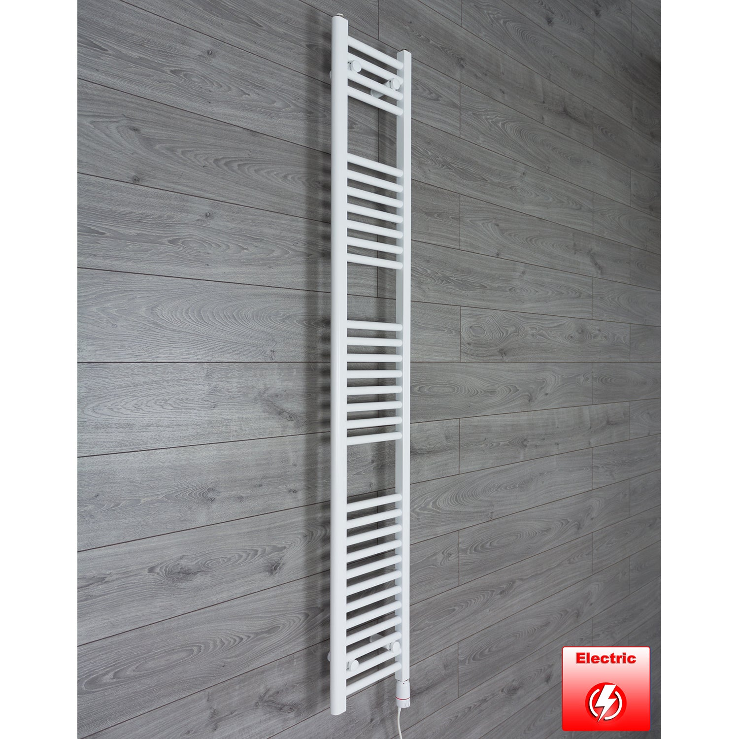 350mm Wide 1800mm High Flat WHITE Pre-Filled Electric Heated Towel Rail Radiator HTR,GT Thermostatic