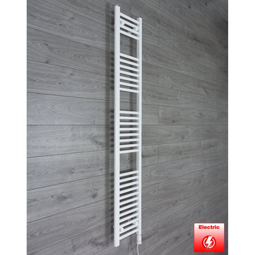250mm Wide 1800mm High Flat WHITE Pre-Filled Electric Heated Towel Rail Radiator HTR,GT Thermostatic