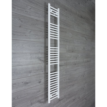 350mm Wide 1800mm High Flat WHITE Pre-Filled Electric Heated Towel Rail Radiator HTR