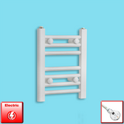 300mm Wide 400mm High Flat WHITE Pre-Filled Electric Heated Towel Rail Radiator HTR