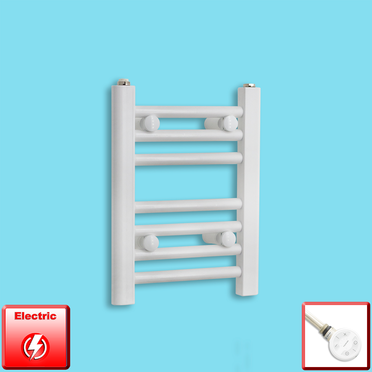 300mm Wide 400mm High Flat WHITE Pre-Filled Electric Heated Towel Rail Radiator HTR,MOA Thermostatic Element