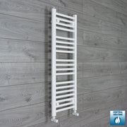 350mm Wide 1000mm High Flat White Heated Towel Rail Radiator HTR,With Angled Valve