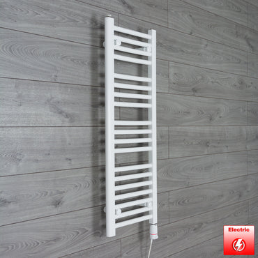 300mm Wide 1000mm High Flat WHITE Pre-Filled Electric Heated Towel Rail Radiator HTR,GT Thermostatic