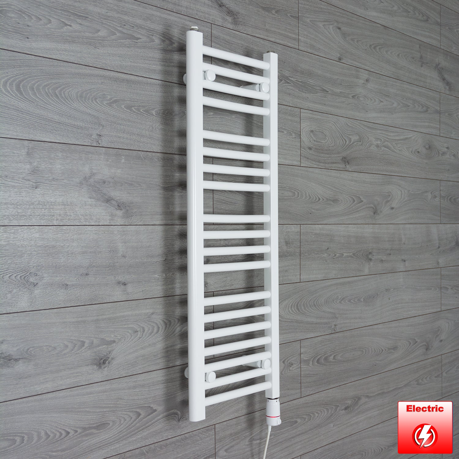 350mm Wide 1000mm High Flat WHITE Pre-Filled Electric Heated Towel Rail Radiator HTR,GT Thermostatic