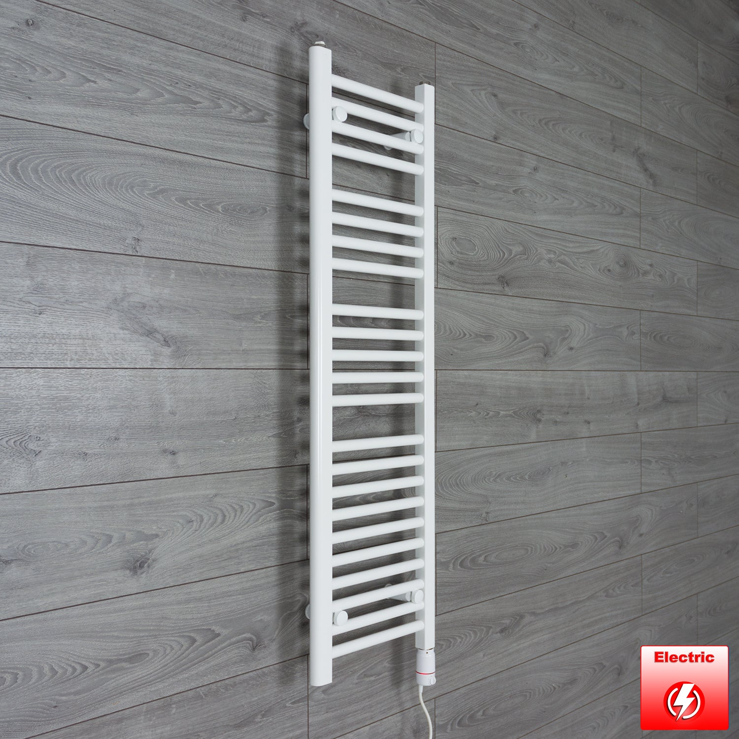 300mm Wide 1200mm High Flat WHITE Pre-Filled Electric Heated Towel Rail Radiator HTR,GT Thermostatic