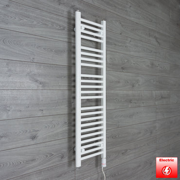 350mm Wide 1200mm High Flat WHITE Pre-Filled Electric Heated Towel Rail Radiator HTR,GT Thermostatic