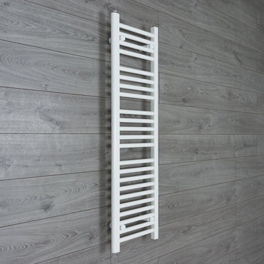 300mm Wide 1200mm High Flat WHITE Pre-Filled Electric Heated Towel Rail Radiator HTR