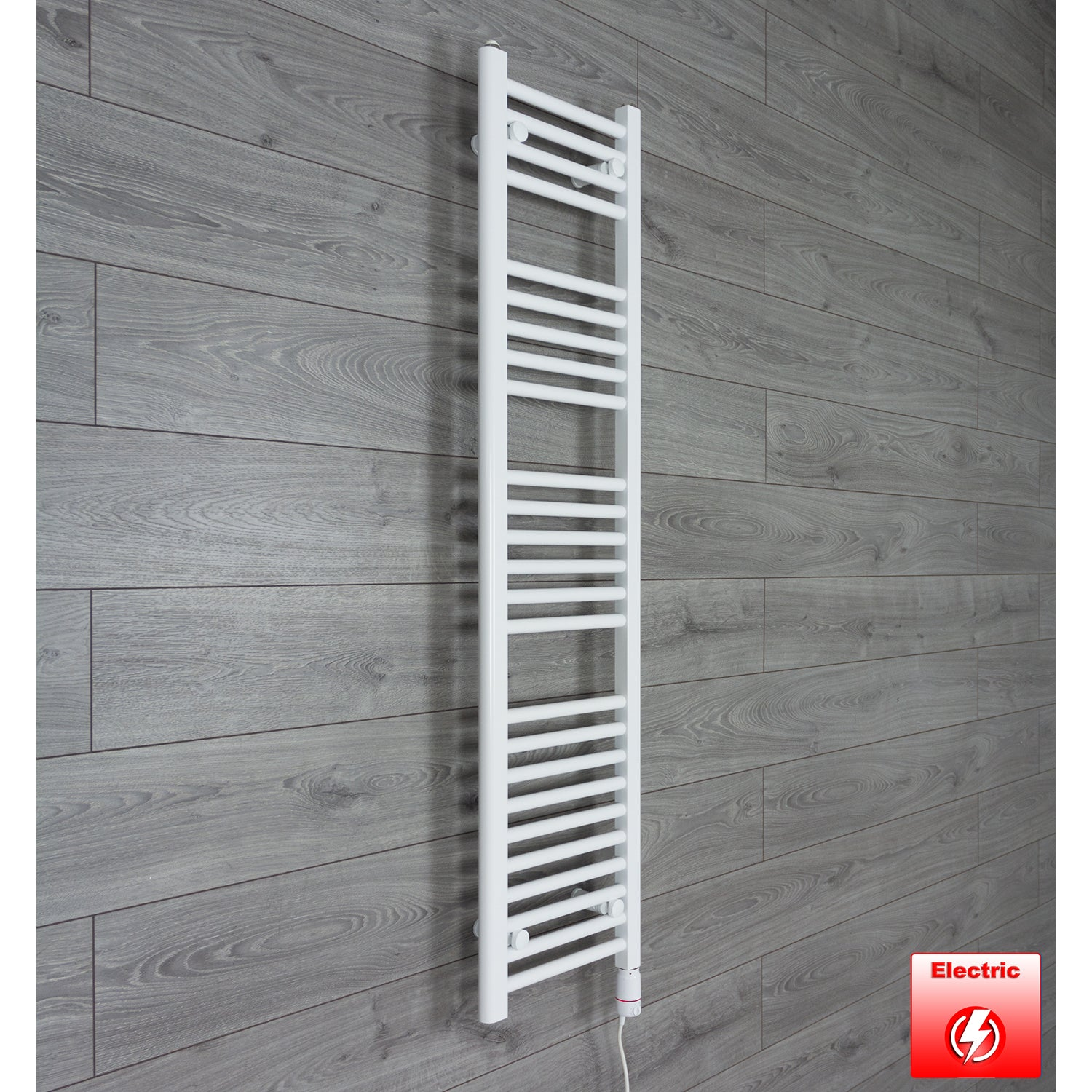 300mm Wide 1400mm High Flat WHITE Pre-Filled Electric Heated Towel Rail Radiator HTR,GT Thermostatic