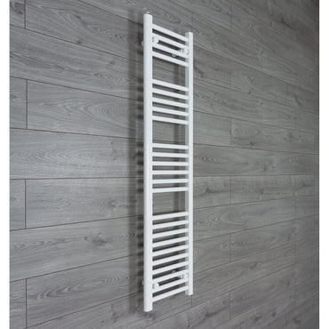 300mm Wide 1400mm High Flat WHITE Pre-Filled Electric Heated Towel Rail Radiator HTR