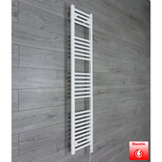 300mm Wide 1600mm High Flat WHITE Pre-Filled Electric Heated Towel Rail Radiator HTR,GT Thermostatic