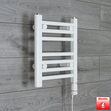 450mm Wide 400mm High Flat WHITE Pre-Filled Electric Heated Towel Rail Radiator HTR,GT Thermostatic