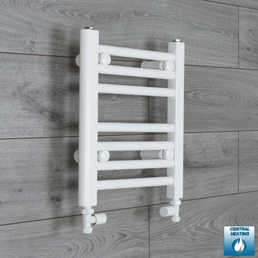 350mm Wide 400mm High Flat White Heated Towel Rail Radiator HTR,With Straight Valve