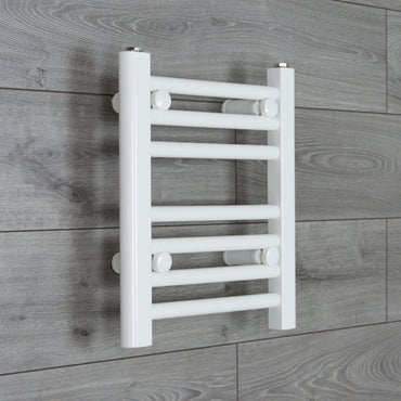 350mm Wide 400mm High Flat WHITE Pre-Filled Electric Heated Towel Rail Radiator HTR