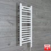 300mm Wide 800mm High Flat WHITE Pre-Filled Electric Heated Towel Rail Radiator HTR,GT Thermostatic