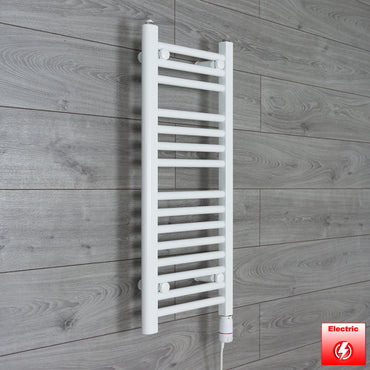 350mm Wide 800mm High Flat WHITE Pre-Filled Electric Heated Towel Rail Radiator HTR,GT Thermostatic