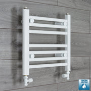 450mm Wide 400mm High Flat White Heated Towel Rail Radiator HTR,With Straight Valve