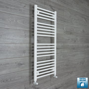 500mm Wide 1100mm High Flat White Heated Towel Rail Radiator HTR,With Angled Valve