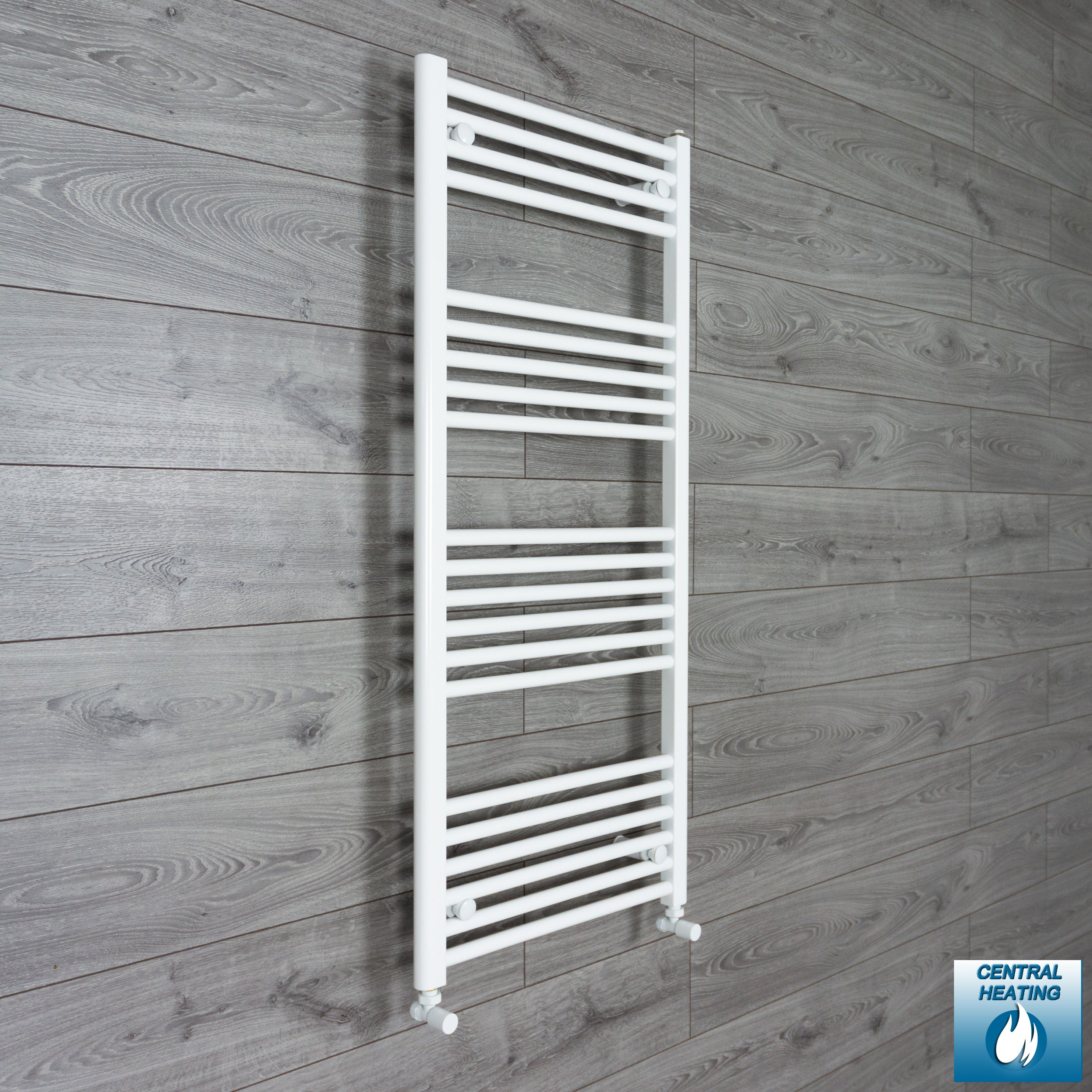 400mm Wide 1200mm High Flat White Heated Towel Rail Radiator Gas or Electric,With Angled Valve
