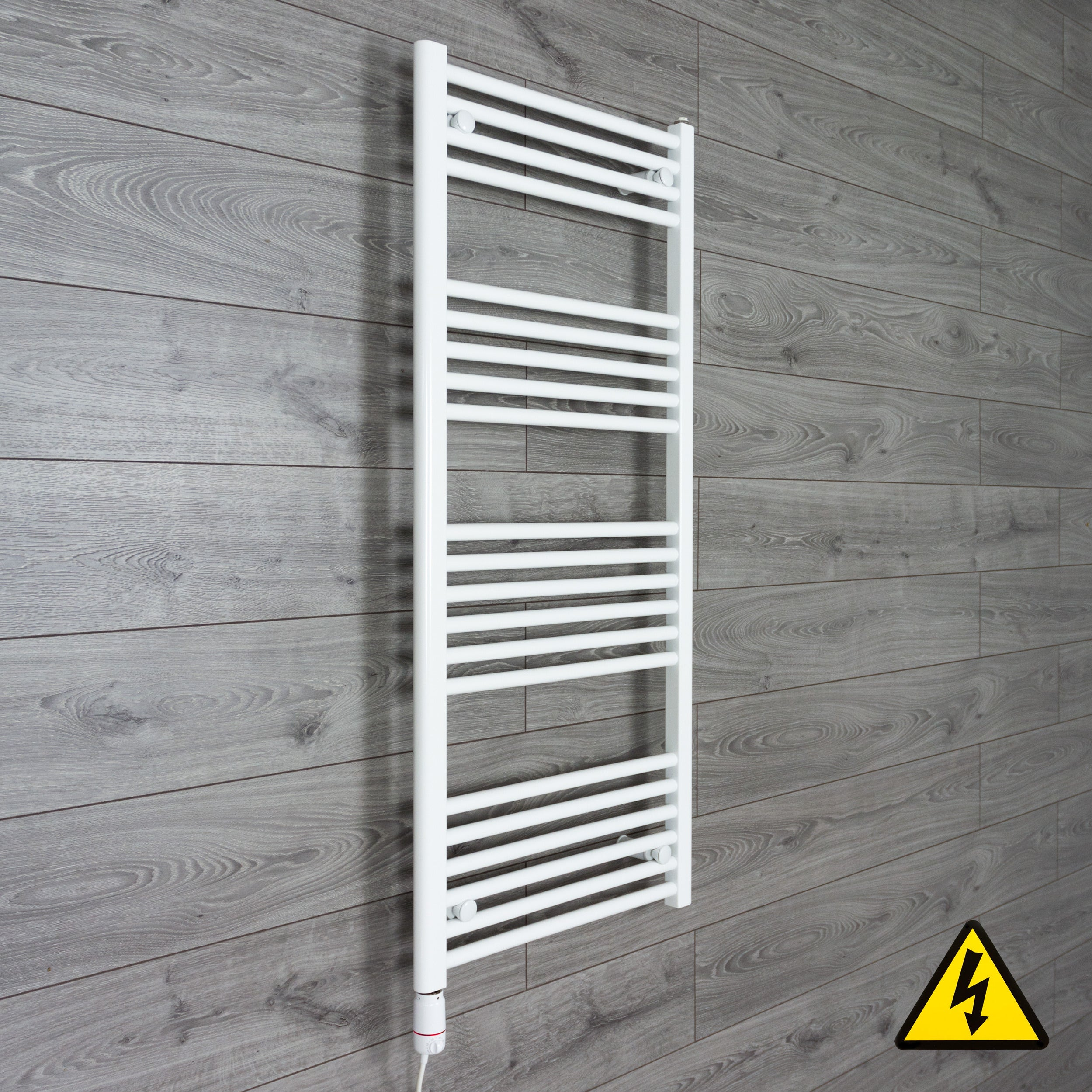 400mm Wide 1200mm High Flat White Heated Towel Rail Radiator Gas or Electric,Pre-Filled Thermostatic Element