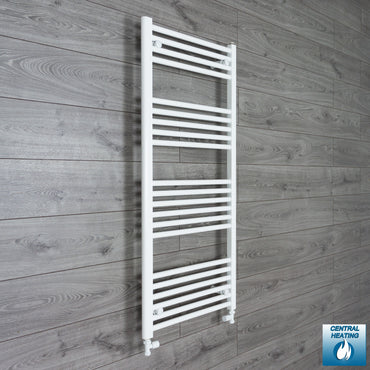 400mm Wide 1200mm High Flat White Heated Towel Rail Radiator Gas or Electric,With Straight Valve