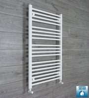 700mm Wide 1000mm High Flat White Heated Towel Rail Radiator HTR,With Angled Valve
