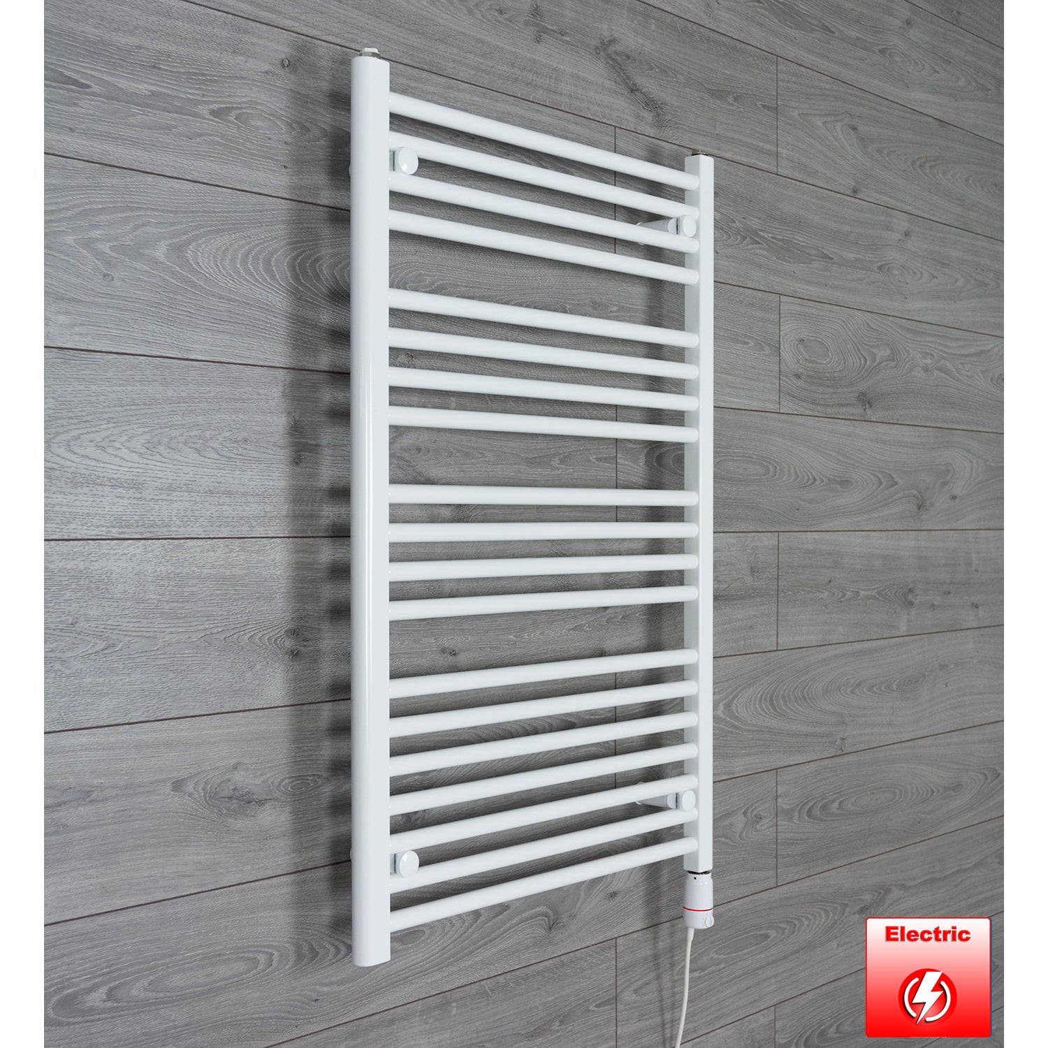650mm Wide 1000mm High Flat WHITE Pre-Filled Electric Heated Towel Rail Radiator HTR,GT Thermostatic