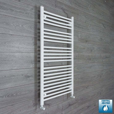 700mm Wide 1200mm High Flat White Heated Towel Rail Radiator HTR,With Angled Valve