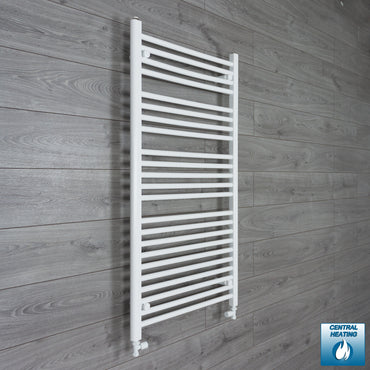 700mm Wide 1200mm High Flat White Heated Towel Rail Radiator HTR,With Straight Valve