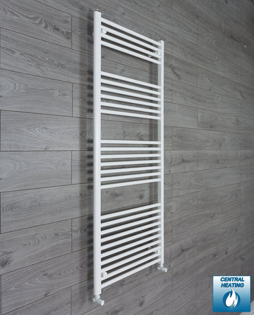 650mm Wide 1600mm High Flat White Heated Towel Rail Radiator HTR,With Angled Valve