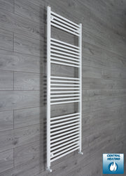650mm Wide 1800mm High Flat White Heated Towel Rail Radiator HTR,With Angled Valve
