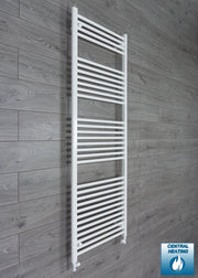 650mm Wide 1800mm High Flat White Heated Towel Rail Radiator HTR,With Straight Valve