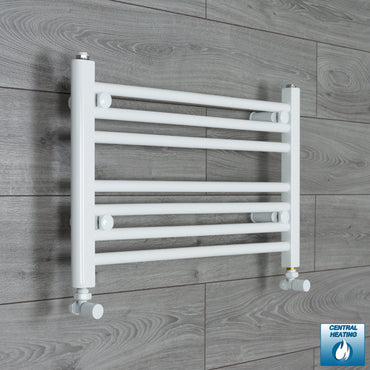 650mm Wide 400mm High Flat White Heated Towel Rail Radiator HTR,With Angled Valve