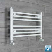 700mm Wide 400mm High Flat White Heated Towel Rail Radiator HTR,With Angled Valve
