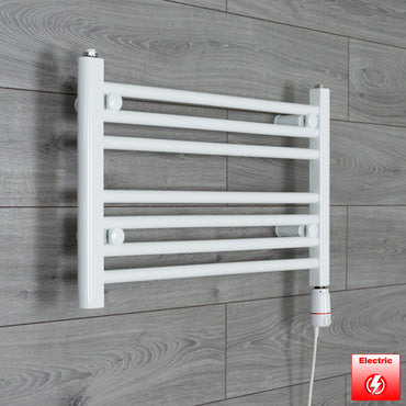 600mm Wide 400mm High Flat WHITE Pre-Filled Electric Heated Towel Rail Radiator HTR,GT Thermostatic