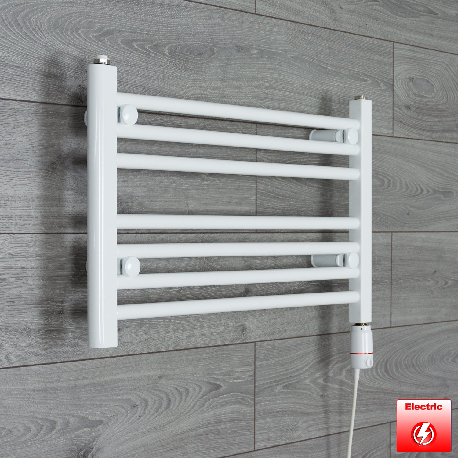 650mm Wide 400mm High Flat WHITE Pre-Filled Electric Heated Towel Rail Radiator HTR,GT Thermostatic