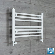 600mm Wide 400mm High Flat White Heated Towel Rail Radiator HTR,With Straight Valve