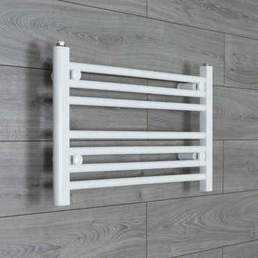 600mm Wide 400mm High Flat WHITE Pre-Filled Electric Heated Towel Rail Radiator HTR