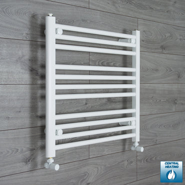 650mm Wide 600mm High Flat White Heated Towel Rail Radiator HTR,With Angled Valve