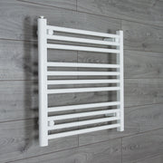 650mm Wide 600mm High Flat WHITE Pre-Filled Electric Heated Towel Rail Radiator HTR