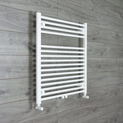740mm Wide 775mm High Straight White Heated Towel Rail Radiator HTR,With Angled Valve