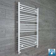 800mm Wide 1100mm High Flat White Heated Towel Rail Radiator HTR,With Straight Valve