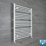 750mm Wide 1000mm High Flat White Heated Towel Rail Radiator HTR,With Angled Valve